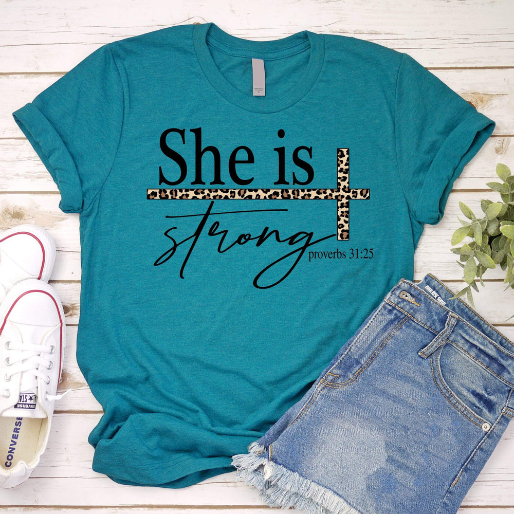 She is Strong Leopard Tee