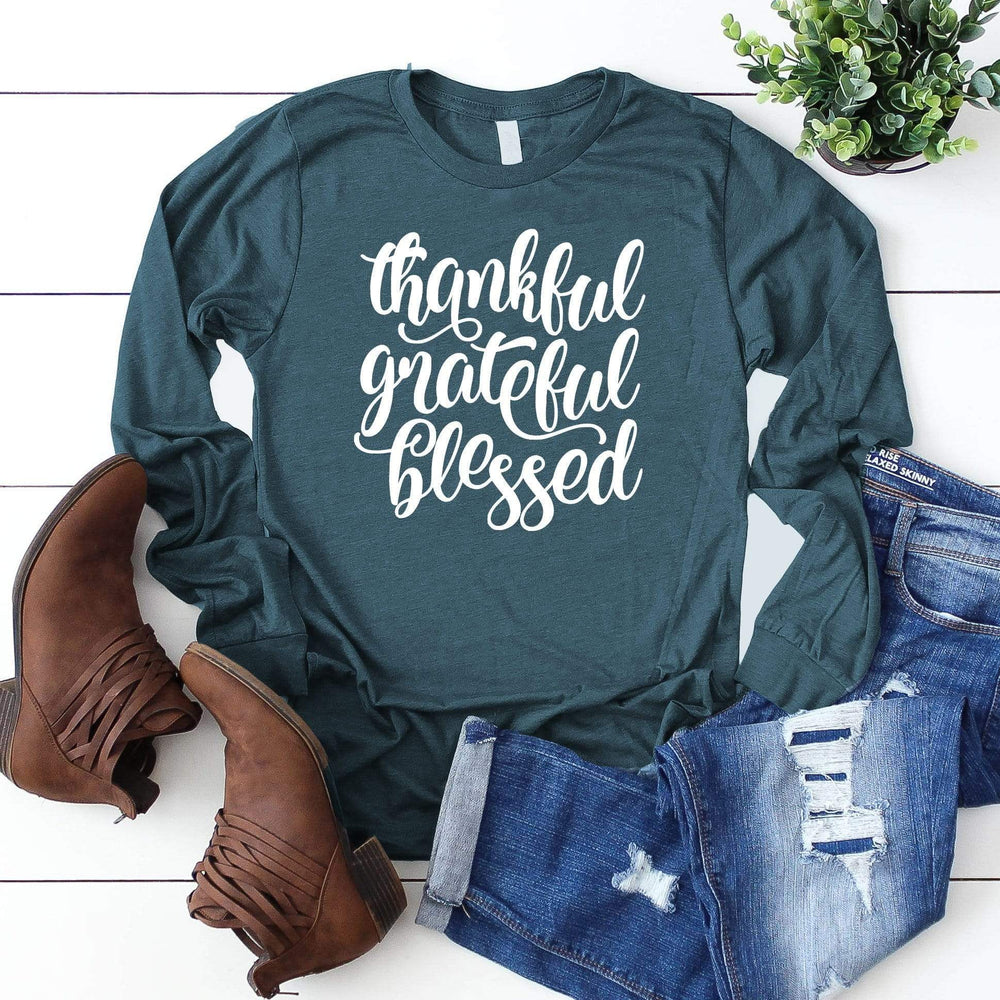 Bella Canvas 3501 - Thankful Grateful Blessed Long Sleeve Tee