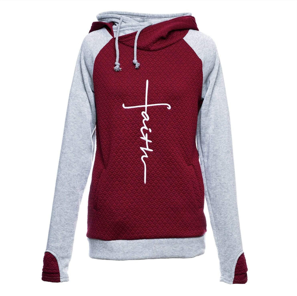 Embroidered Faith Color Block Hoodie