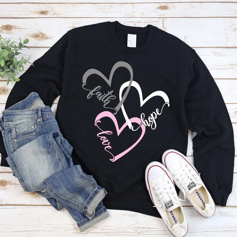 Faith Hope Love Hearts Crew Neck Sweater