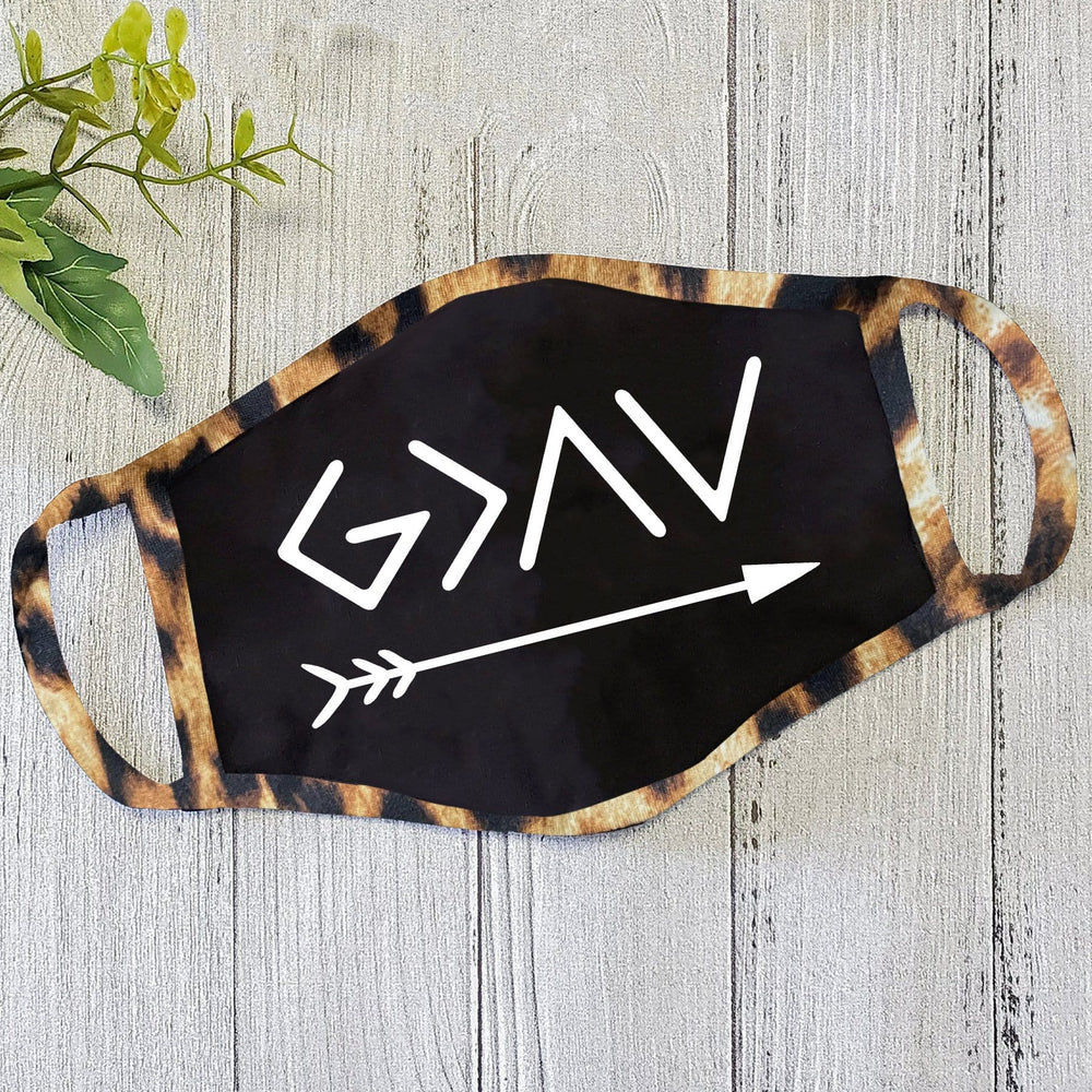 God Is Greater Black Mask With Leopard Trim