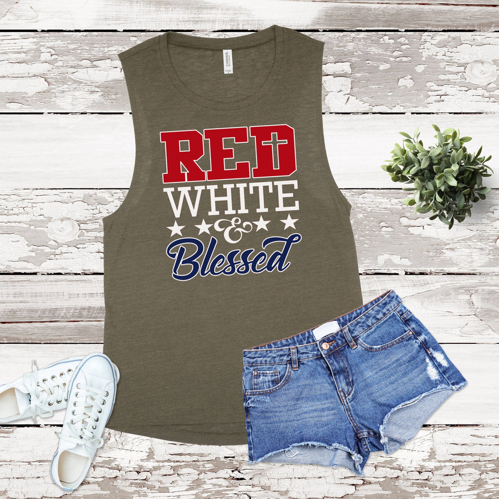 NEW Red White & Blessed Military Tank