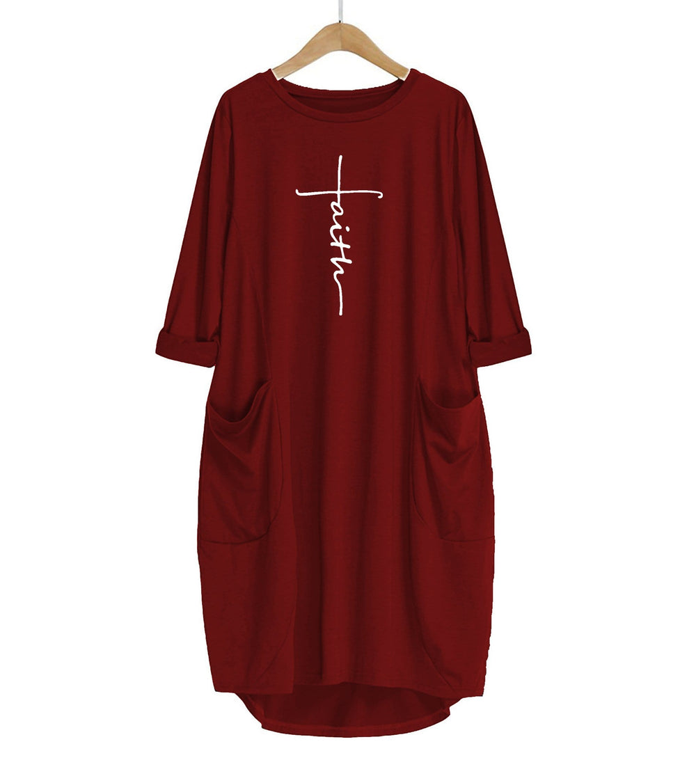 Embroidered Faith Cross Dress