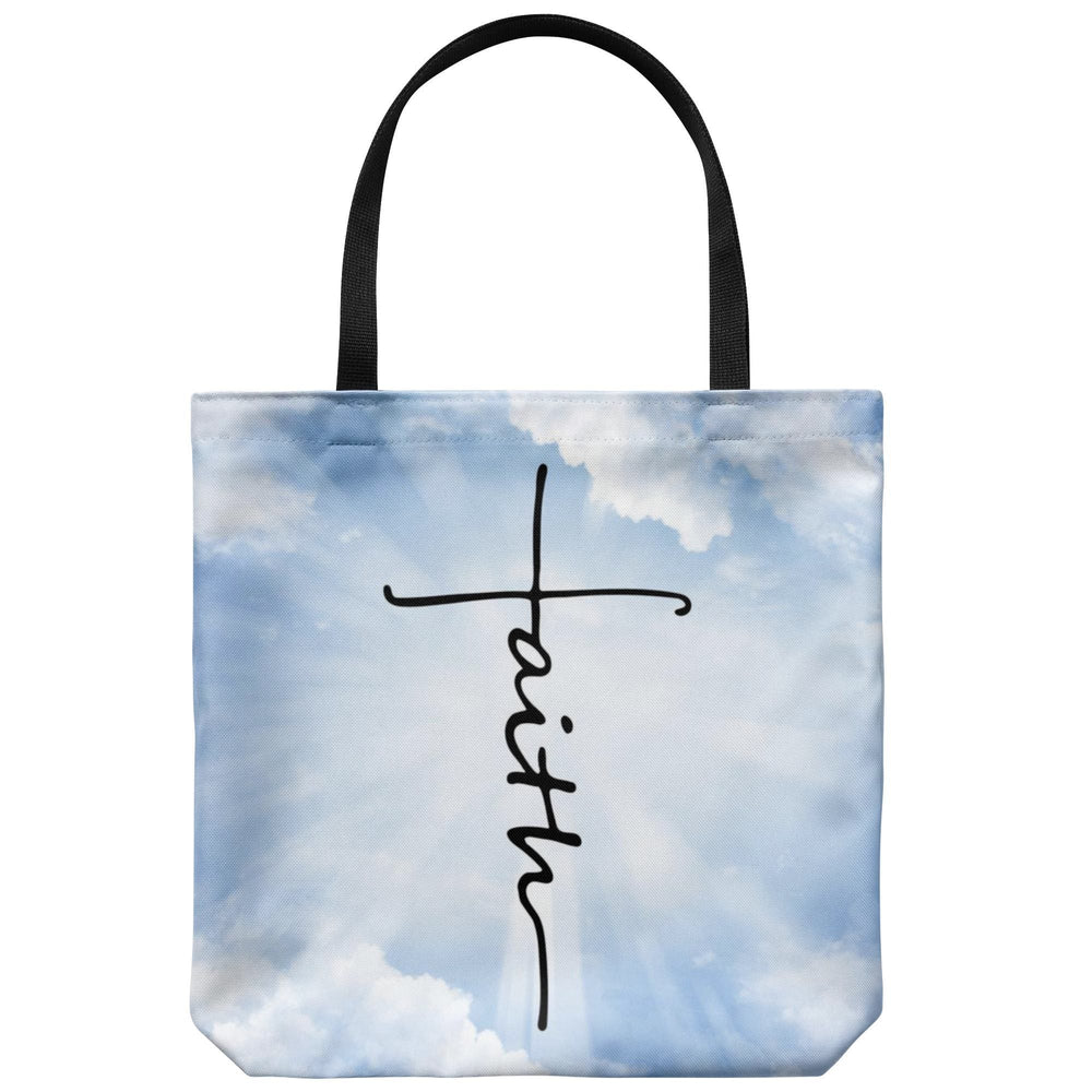 Tote Bags - Faith Cross Cloud Tote