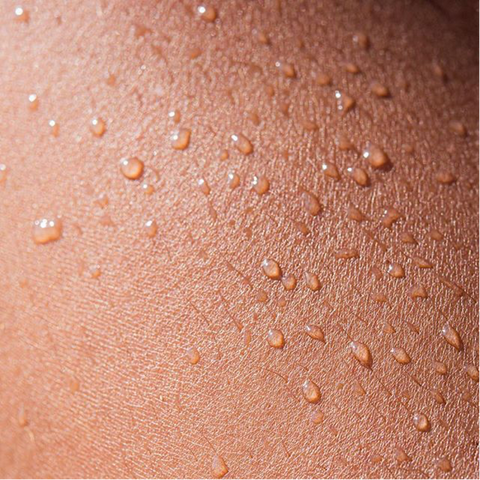 water droplets on skin