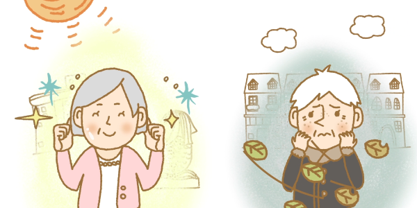 Cartoon illustration of older ladies, comparing their skin texture, one from Singapore, one from Europe