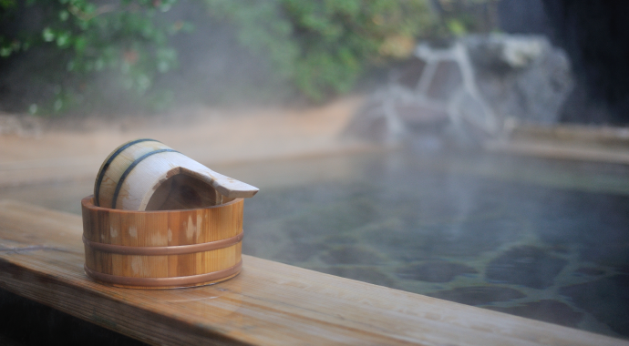Onsen with wooden bucket