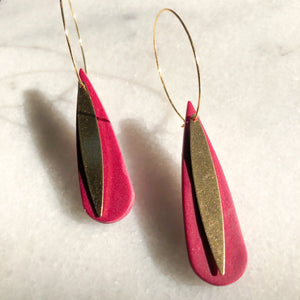 Rose Teardrop Hoop Dangles