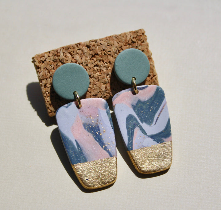 Lori Ann Small Marble Block Earrings