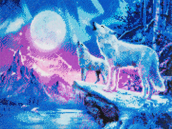 """Wolves & Northern Lights"" Framed Crystal Art Kit, 40 x 50cm"