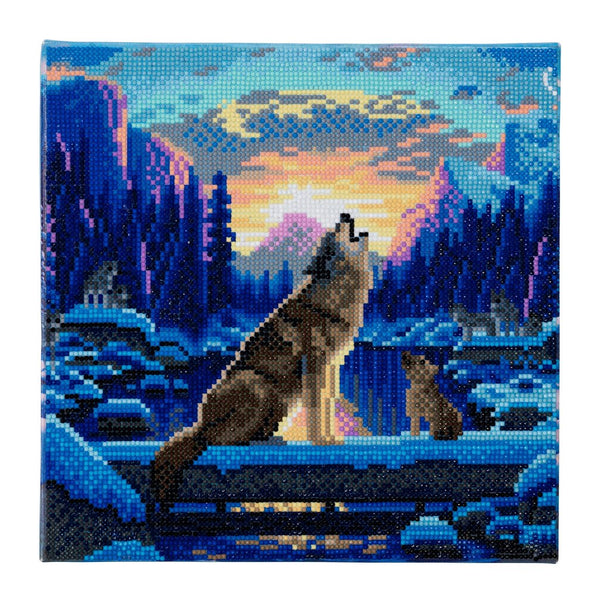"""Howling Wolves"" Framed Crystal Art Kit 30 x 30cm (Medium)"