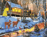 """Highland Cabin"" Framed LED Crystal Art Kit - 40 x 50 (With Special Effects)"