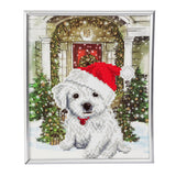 """FESTIVE PUP"" CRYSTAL ART PICTURE FRAME KIT, 21 X 25CM"
