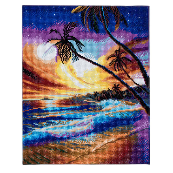 """Tropical Beach"" Framed Crystal Art Kit, 40 x 50cm"