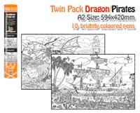 Doodlebugz Poster Art Dragon/Pirates Twin Pack