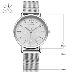 SK Super Slim Sliver Mesh Stainless Steel Watches Women