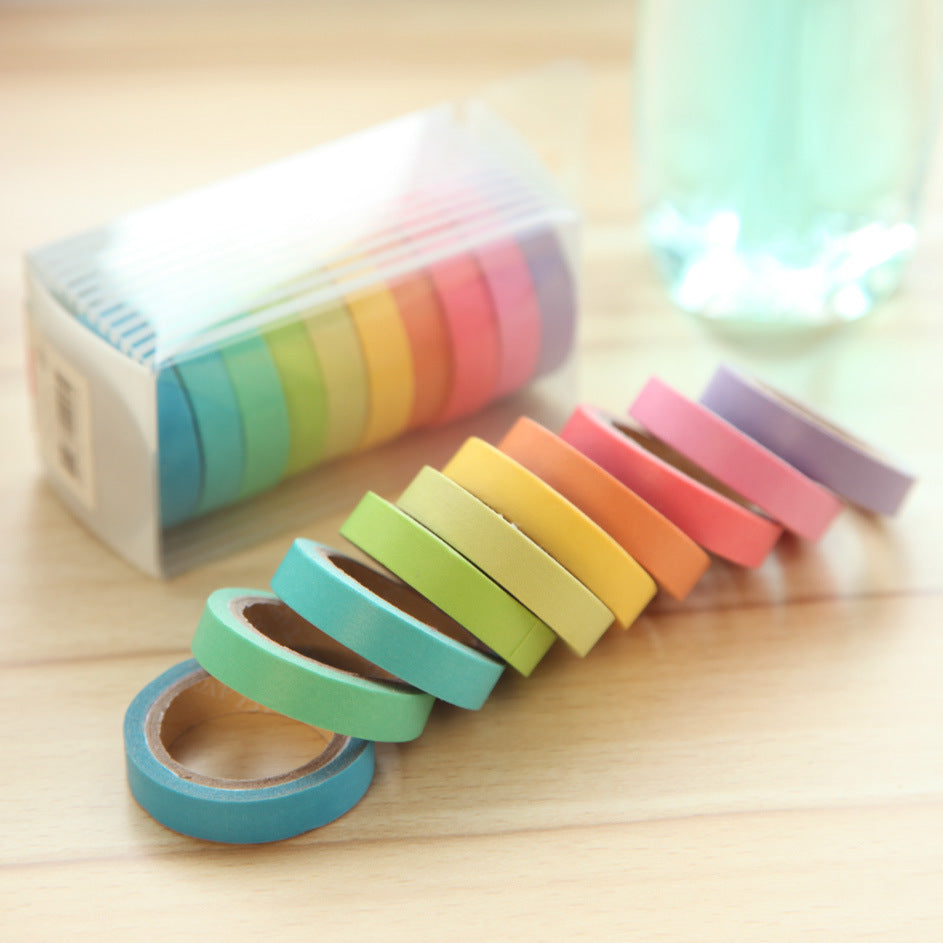 10 Rainbow Solid Color Masking Sticky Paper Tape Adhesive🔥🔥😍