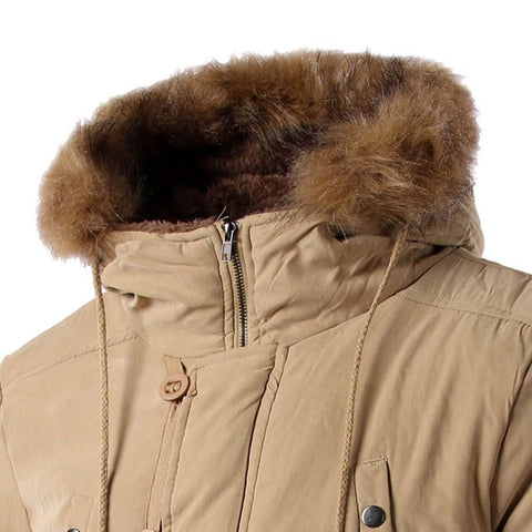 Men's Fur Collar Solid Hood