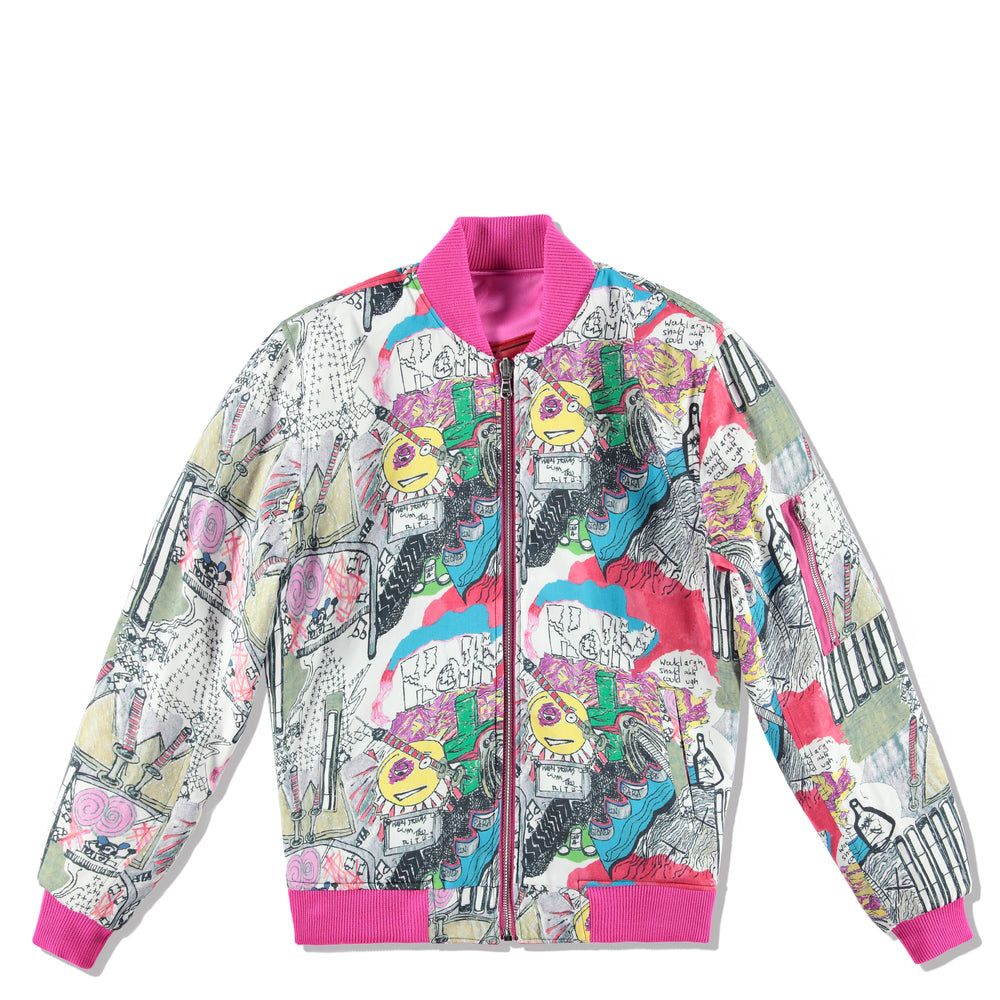 MAKE PEACE SATIN BOMBER