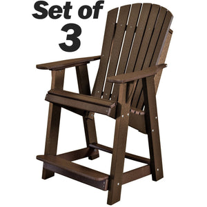Set of 3 - DuraWeather Poly® Classic Adirondack Counter Chair