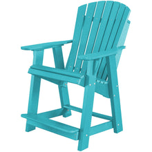 Load image into Gallery viewer, duraweather polywood patio furniture aruba blue counter bar height adirondack chair