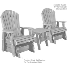 Load image into Gallery viewer, DuraWeather Poly® Set of 2 Adirondack Single Gliders With Two Tier End Table