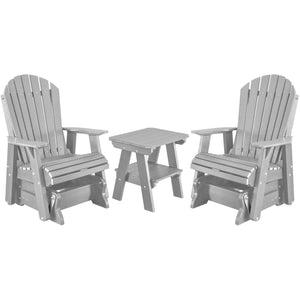 DuraWeather Poly® Set of 2 Adirondack Single Gliders With Two Tier End Table