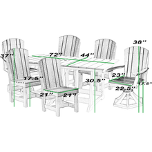 Load image into Gallery viewer, DuraWeather Poly® 7 pc. Plantation Dining Table Set With Two Swivel Rockers