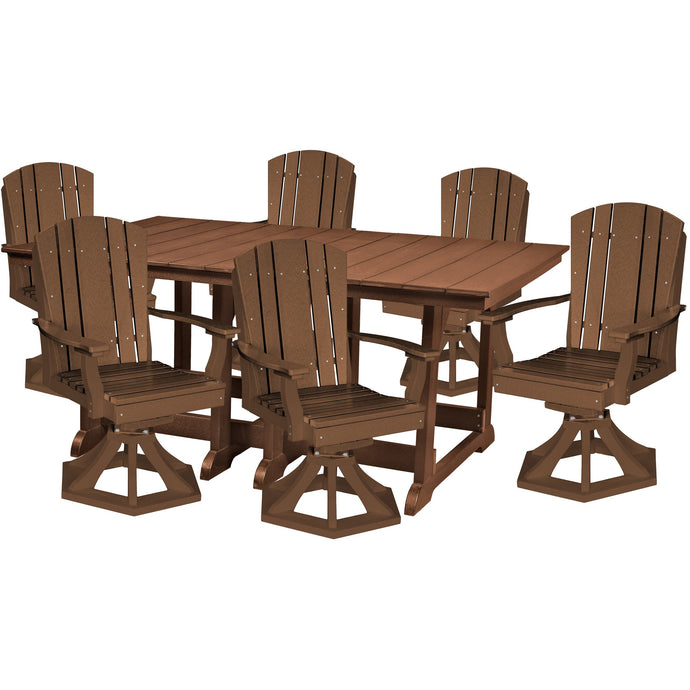 DuraWeather Poly® 7 pc. Plantation Dining Table Set With All Swivel Rockers