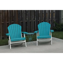 Load image into Gallery viewer, DuraWeather Poly® King Size Folding Adirondack Chair - (Aruba Blue on White)
