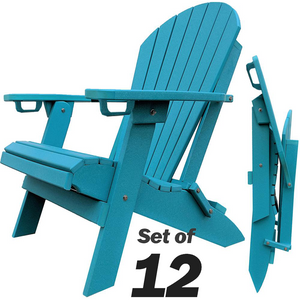 Set of 12 - DuraWeather Poly® King Size Folding Adirondack Chair with Built-in Cup Holders (30+ Color Options)