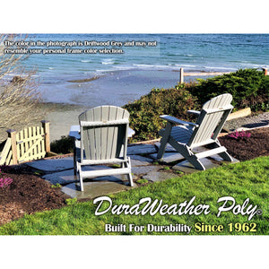 Set of (2) - DuraWeather Poly® Classic King Size Folding Adirondack Chairs + (1) Folding End Table With Removable Tray