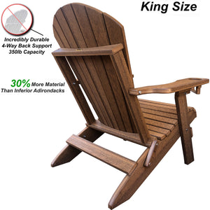 Set of 8 - DuraWeather Poly® King Size Folding Adirondack Chair with Built-in Cup Holders (30+ Color Options)