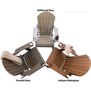 DuraWeather Poly® Premium King Size Folding Adirondack Chair with Built-in Cup Holders - (Chocolate Brown)
