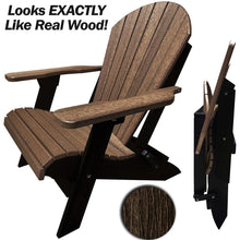 Load image into Gallery viewer, DuraWeather Poly® King Size Folding Adirondack Chair - Exclusive Wood Grain Poly-resin
