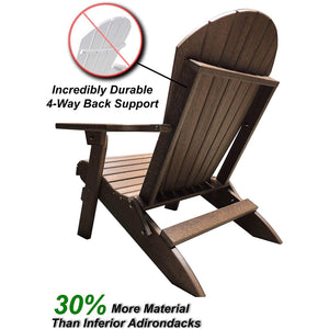 DuraWeather Poly® King Size Folding Adirondack Chair - Exclusive Wood Grain Poly-resin
