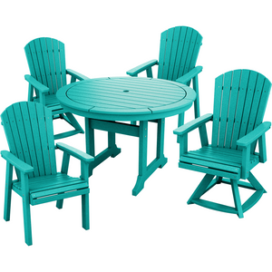 "DuraWeather Poly® 5 pc. 48""rd Classic Adirondack Dining Set with Two Swivel Rockers"