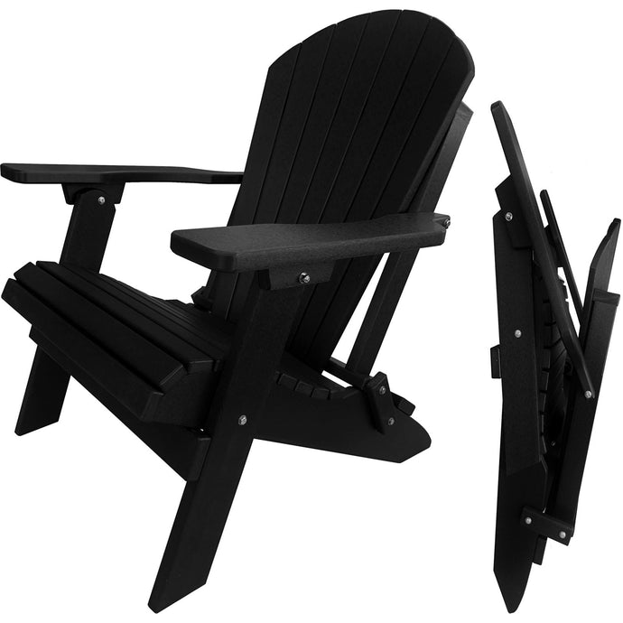 DuraWeather Poly® King Size Folding Adirondack Chair - (Obsidian Black)