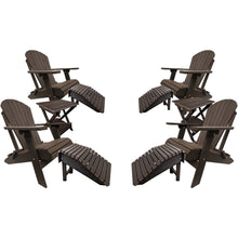 Load image into Gallery viewer, DuraWeather Poly® Set of 4 Classic King Size Folding Adirondack Chairs - 4 Folding Ottomans and 2 Folding End Tables