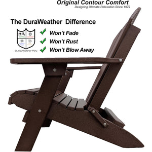 DuraWeather Poly® King Size Folding Adirondack Chair - (Chocolate Brown)