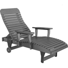 Load image into Gallery viewer, duraweather polywood grey adjustable chaise lounge with wheels