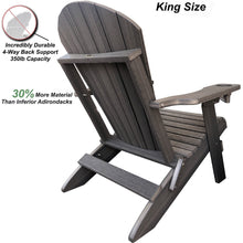Load image into Gallery viewer, Set of 8 - DuraWeather Poly® King Size Folding Adirondack Chair with Built-in Cup Holders (30+ Color Options)