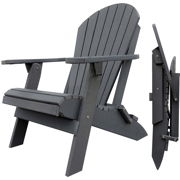 DuraWeather Poly® King Size Folding Adirondack Chair - (Charcoal Grey)