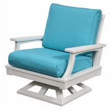 Load image into Gallery viewer, DuraWeather Poly® Princeton Estates Club Swivel Rocker Lounge Chair (White Frame on Sunbrella® Canvas Aruba Fabric)