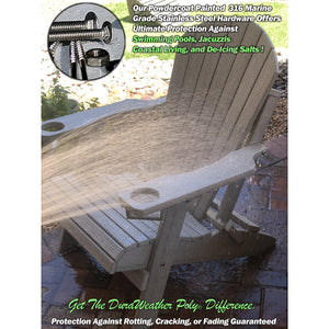 Set of 8 - DuraWeather Poly® Signature Collection King Size Folding Adirondack Chair (With Built In Cup Holders)