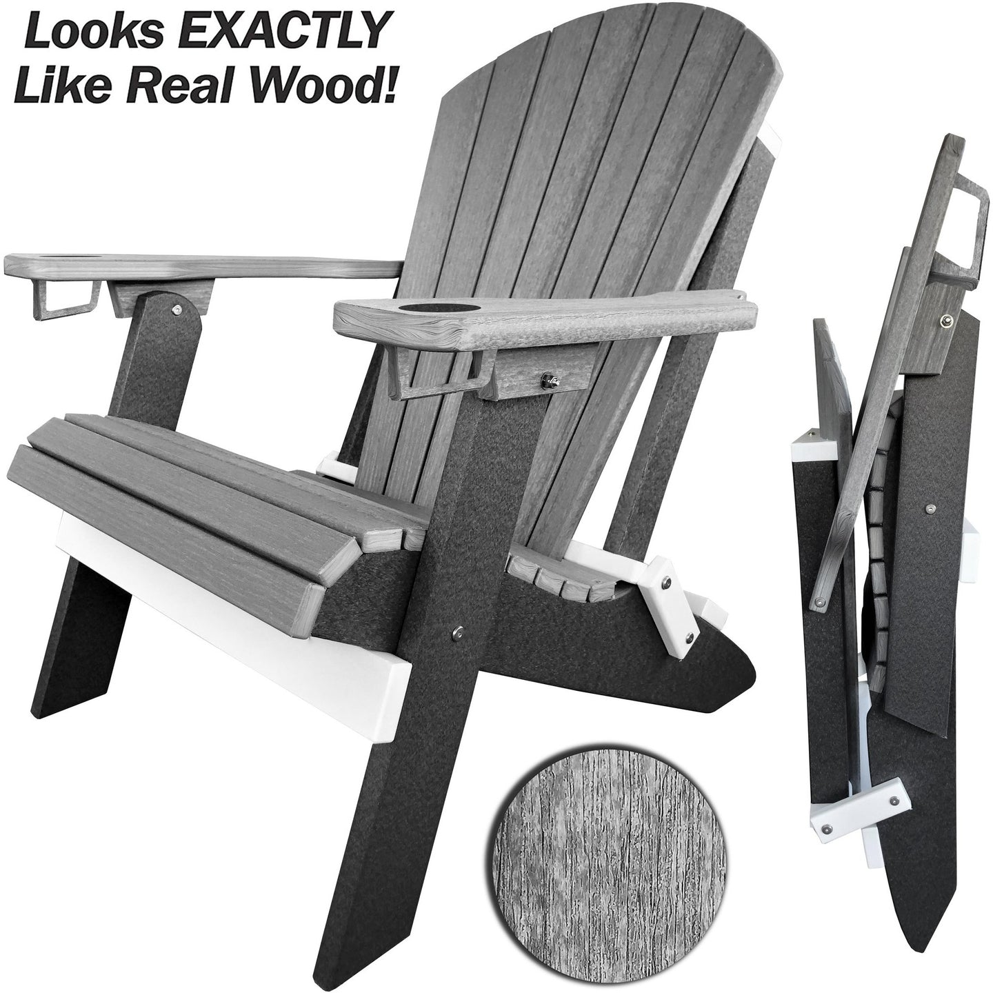Set of 6 - DuraWeather Poly® Signature Collection King Size Folding Adirondack Chair (With Built In Cup Holders)