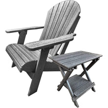 Load image into Gallery viewer, Set of (2) - DuraWeather Poly® Classic King Size Folding Adirondack Chairs + (1) Folding End Table With Removable Tray