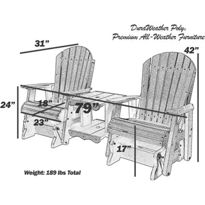 DuraWeather Poly® Classic Adirondack Loveseat Glider With Built In Tete-a-Tete Table Top With Umbrella Hole