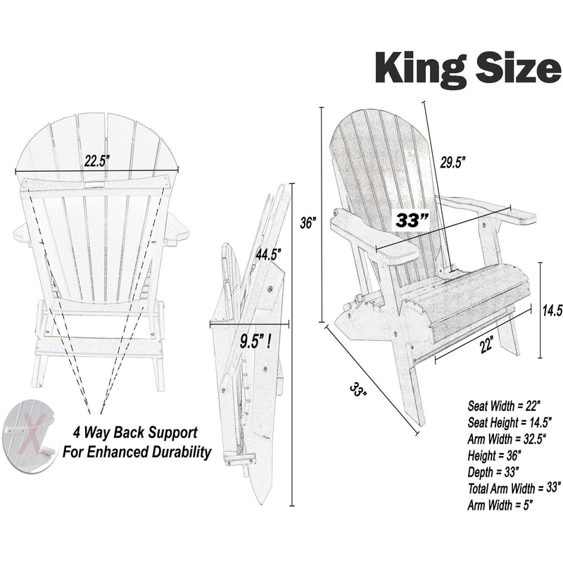 DuraWeather Poly® King Size Folding Adirondack Chair - Exclusive Wood Grain Poly-resin (Quick Ship)