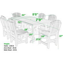 Load image into Gallery viewer, DuraWeather Poly® 7 pc. Plantation Dining Table Set (15+ Color Combinations)